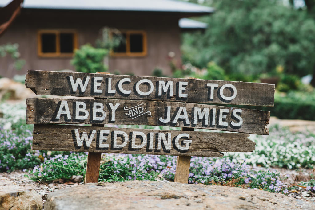 Garden Wedding Celebrant Menzies Creek - Wedding Sign