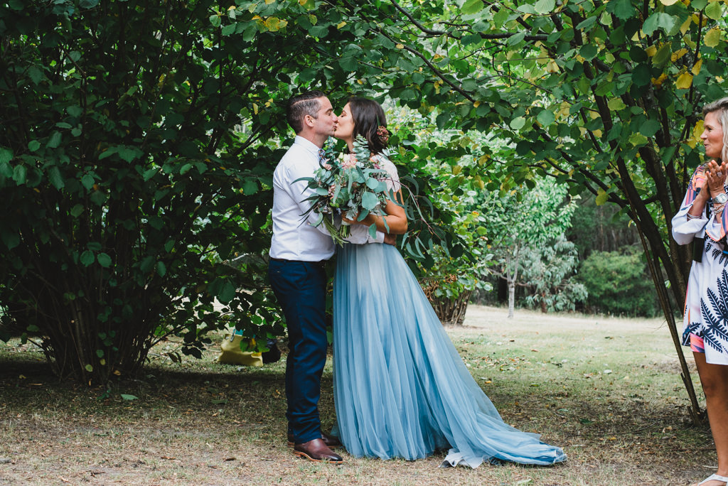 Garden Wedding Celebrant Menzies Creek - First Wedded Kiss