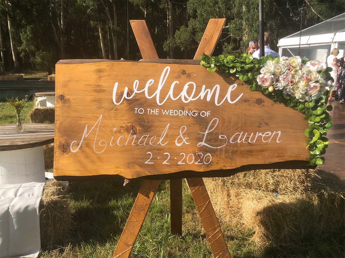 Julie Byrne - Yarra Valley Celebrant - Lauren and Michaels Wedding - Rustic Wedding Sign