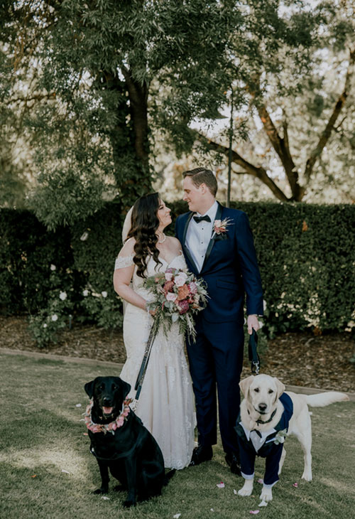 Julie Byrne Flowerdale Wedding Celebrant - Andrew and Bianca with their Labs